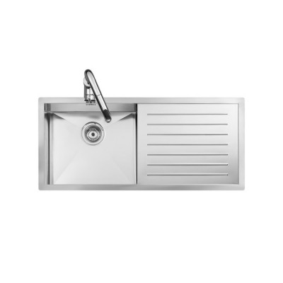 Roca X-Tra Stainless steel single bowl kitchen sink and left drainer